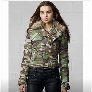 Ralph Lauren Denim Supply camo fur Moto jacket S